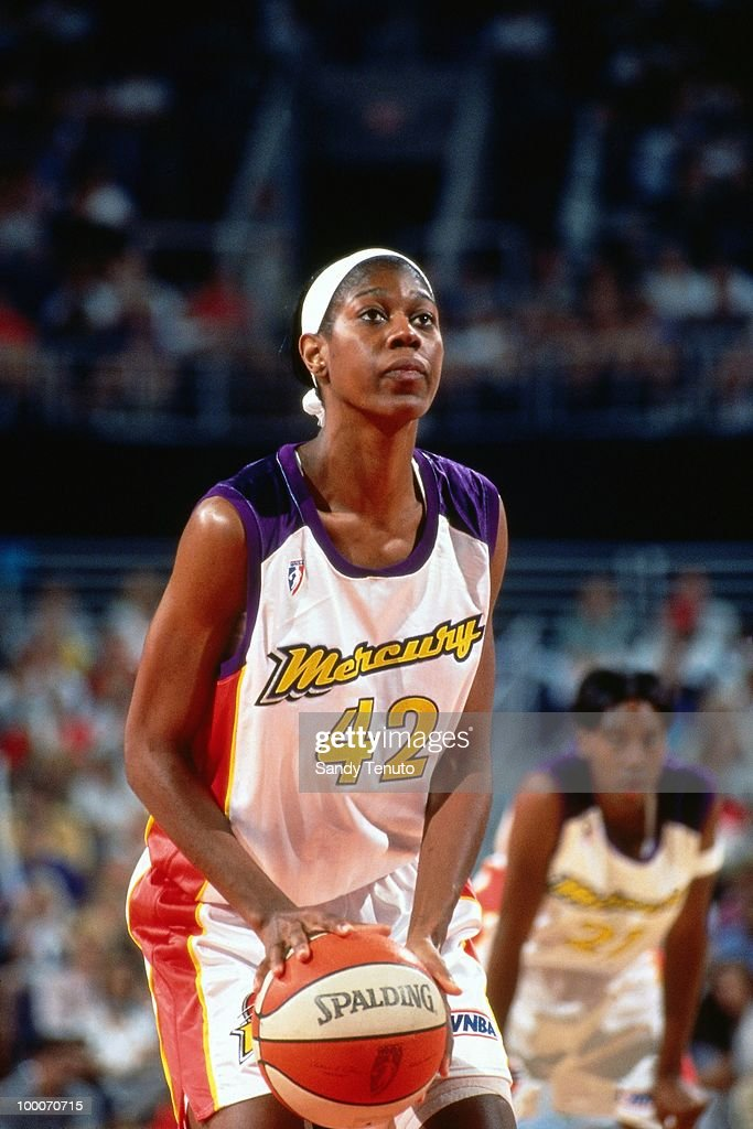 Monique Ambers #42 of the Phoenix Mercury shoots a free throw during a game played circa 1997 at the America West Arena in Phoenix, Arizona.