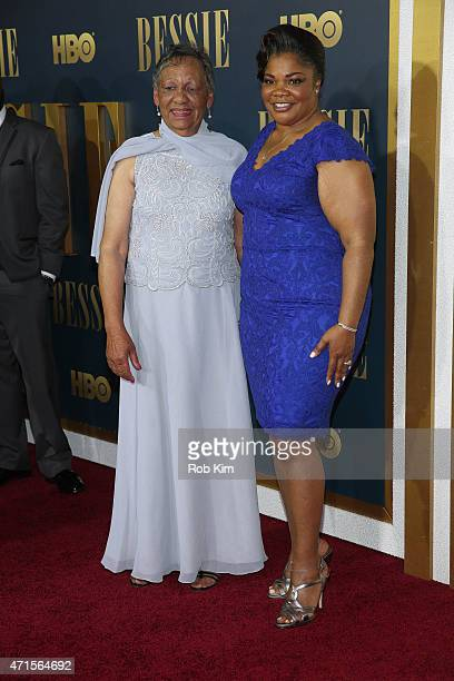 Mo'Nique and Beverly Ann Clarke granddaughter of Bessie Smith attend the 'Bessie' New York screening at The Museum of Modern Art on April 29 2015 in...