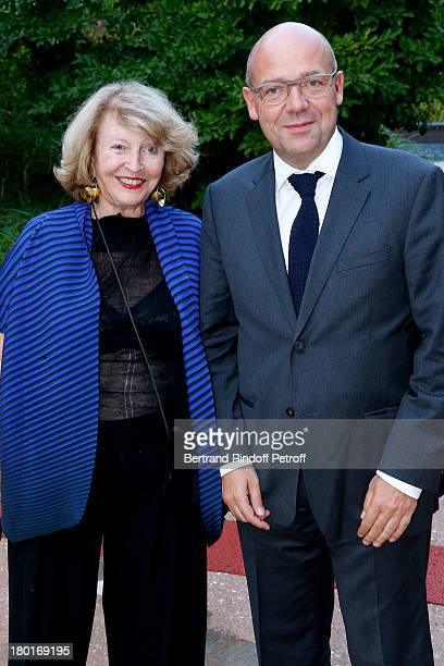 Monique Barbier Muller and CEO Director of the Museum of Modern Art in Paris Fabrice Hergott attend 'Friends of Quai Branly Museum Society' dinner...