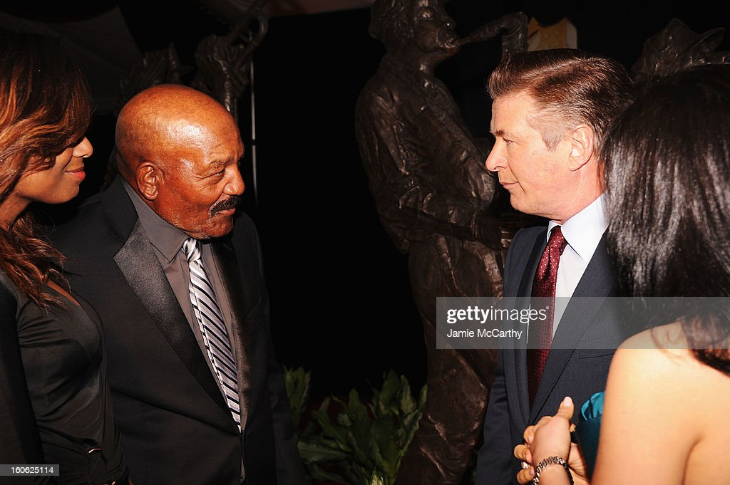 Monique Brown, NFL Hall of Famer Jim Brown, actor Alec Baldwin, and Hilaria Thomas attend the 2nd Annual NFL Honors at Mahalia Jackson Theater on February 2, 2013 in New Orleans, Louisiana.