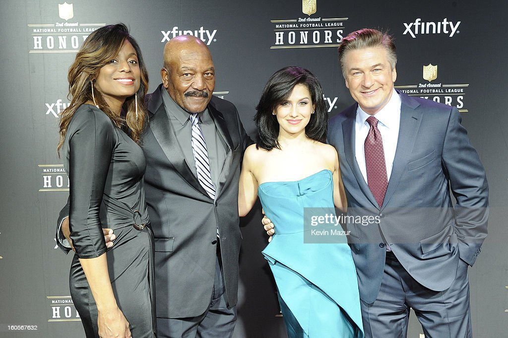 Monique Brown, NFL Hall of Famer Jim Brown, Hilaria Thomas, and actor Alec Baldwin attend the 2nd Annual NFL Honors at the Mahalia Jackson Theater on February 2, 2013 in New Orleans, Louisiana.