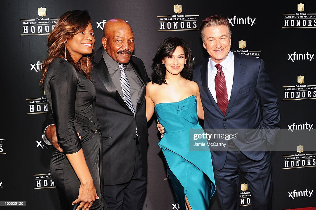 Monique Brown, NFL Hall of Famer Jim Brown, Hilaria Thomas, and actor Alec Baldwin attend the 2nd Annual NFL Honors at Mahalia Jackson Theater on February 2, 2013 in New Orleans, Louisiana.