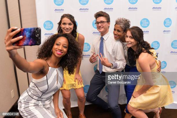 Monique Coleman and Val Warner take a selfie with QCCloset2Closet winners of the Allstate Foundation Good Starts Young Rally at The Wit Hotel on June...