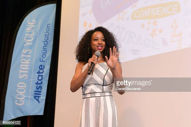 Monique Coleman speaks to finalists during the Allstate Foundation Good Starts Young Rally at The Wit Hotel on June 21 2017 in Chicago Illinois