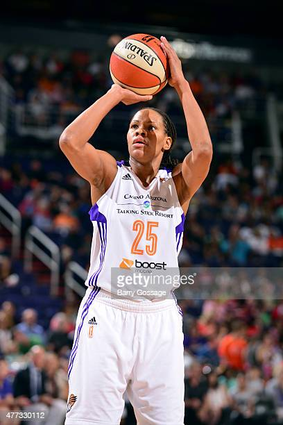 Monique Currie of the Phoenix Mercury attempts a free throw against the Minnesota Lynx on June 14 2015 at Talking Stick Resort Arena in Phoenix...