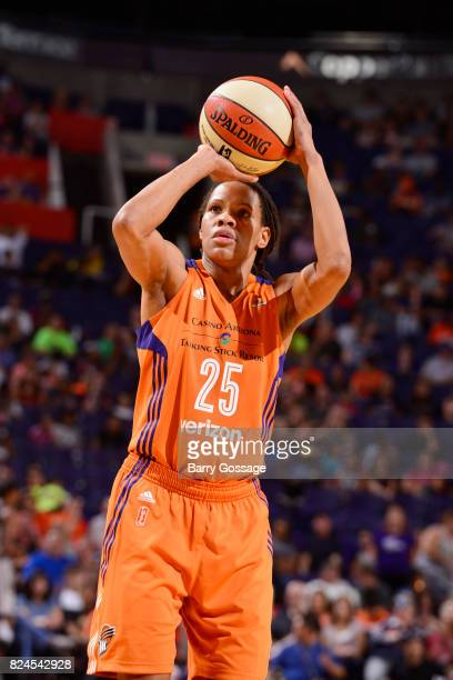 Monique Currie of the Phoenix Mercury shoots a free throw against the San Antonio Stars on July 30 2017 at Talking Stick Resort Arena in Phoenix...