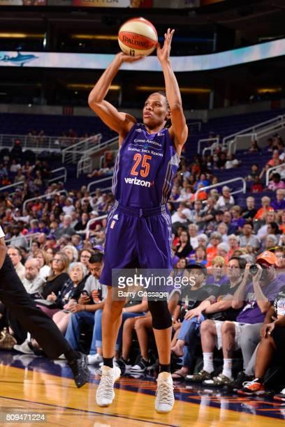 Monique Currie of the Phoenix Mercury shoots the ball against the Washington Mystics on July 5 2017 at Talking Stick Resort Arena in Phoenix Arizona...