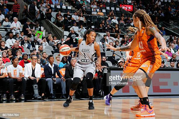 Monique Currie of the San Antonio Stars handles the ball against the Phoenix Mercury on September 18 2016 at ATT Center in San Antonio Texas NOTE TO...