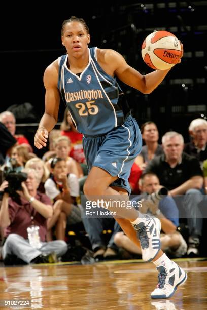 Monique Currie of the Washington Mystics drives the ball up court in Game Two of the Eastern Conference Semifinals during the 2009 WNBA Playoffs...