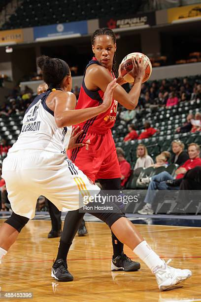 Monique Currie of the Washington Mystics handles the ball against the Indiana Fever during the WNBA preseason game on May 6 2014 at Bankers Life...