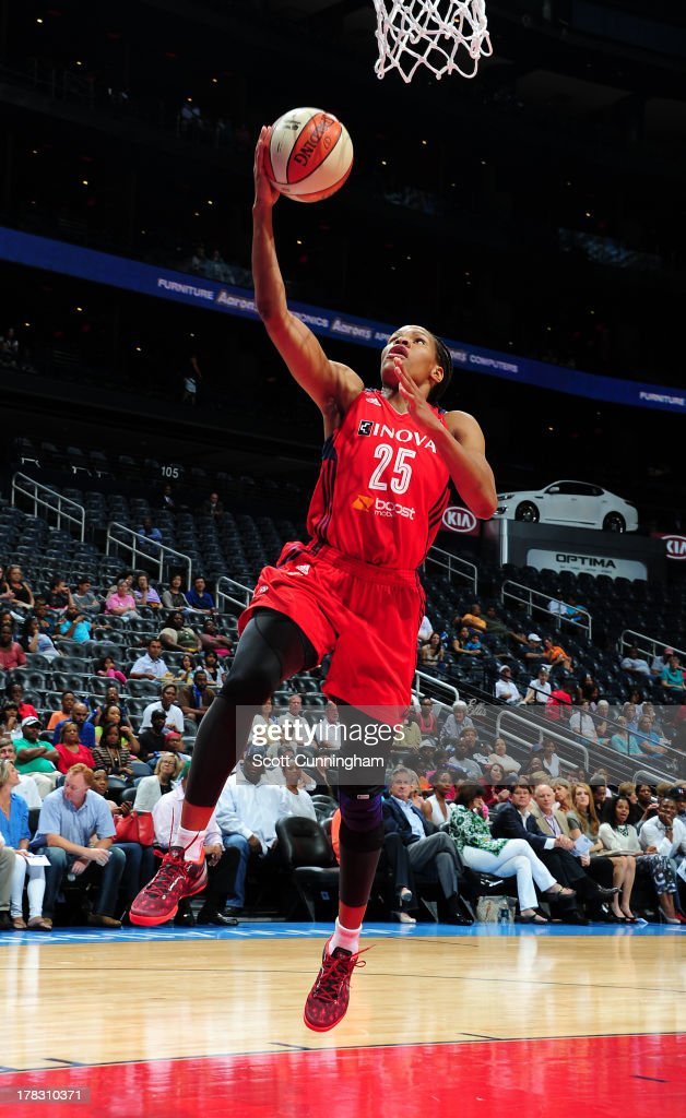 Monique Currie #25 of the Washington Mystics puts up a shot against the Atlanta Dream at Philips Arena on August 28 2013 in Atlanta, Georgia.