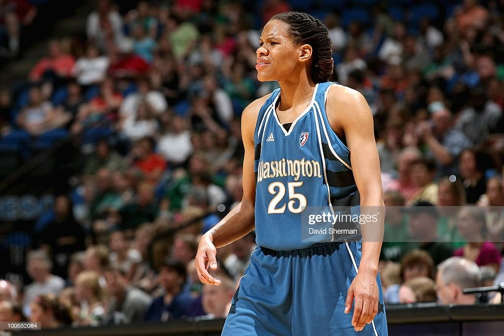 <a gi-track='captionPersonalityLinkClicked' href=/galleries/search?phrase=Monique+Currie&family=editorial&specificpeople=553598 ng-click='$event.stopPropagation()'>Monique Currie</a> #25 of the Washington Mystics reacts during the WNBA game against the Minnesota Lynx on May 16, 2010 at Target Center in Minneapolis, Minnesota. The Mystics won 87-76.