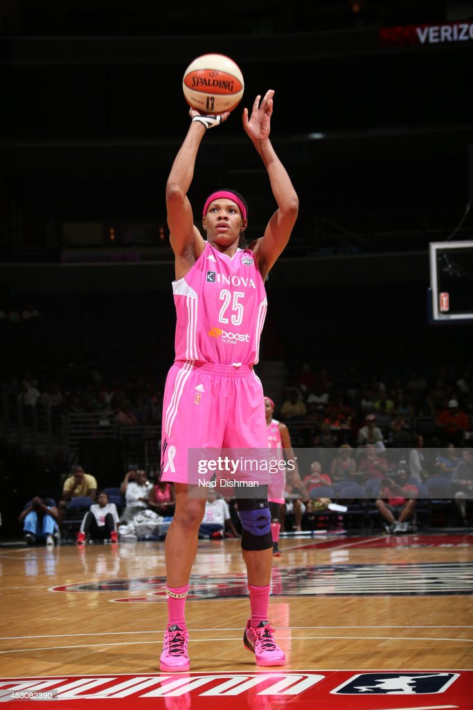 <a gi-track='captionPersonalityLinkClicked' href=/galleries/search?phrase=Monique+Currie&family=editorial&specificpeople=553598 ng-click='$event.stopPropagation()'>Monique Currie</a> #25 of the Washington Mystics shoots a free throw against the Atlanta Dream at the Verizon Center on July 27, 2014 in Washington, DC.