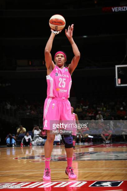 Monique Currie of the Washington Mystics shoots a free throw against the Atlanta Dream at the Verizon Center on July 27 2014 in Washington DC NOTE TO...