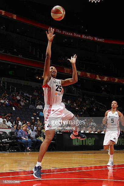 Monique Currie of the Washington Mystics shoots against the Indiana Fever at the Verizon Center on September 21 2012 in Washington DC NOTE TO USER...