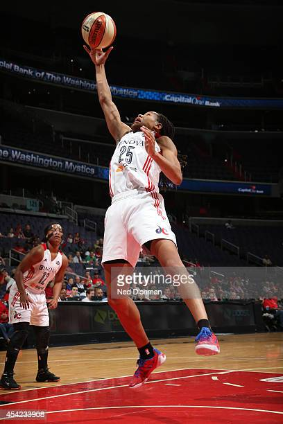 Monique Currie of the Washington Mystics shoots the ball against the Indiana Fever in Game Two of the Eastern Conference Semifinals during the 2014...