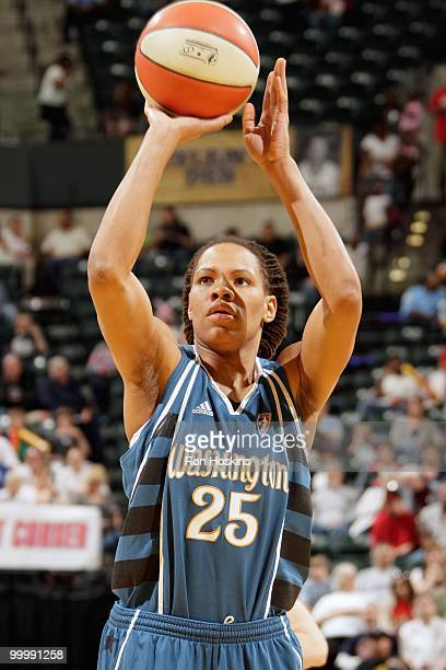 Monique Currie of the Washington Mystics takes a shot against the Indiana Fever during the WNBA game on May 15 2010 at Conseco Fieldhouse in...
