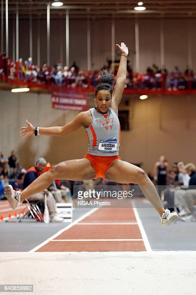 Monique Davisson of Wartburg stretches for more distance in the women's triple jump at the Division III Men's and Women's Indoor Track and Field...