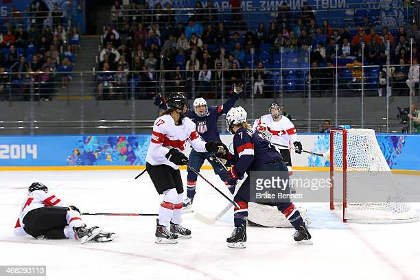 Monique Lamoureux of United States scores the first goal during the Women's Ice Hockey Preliminary Round Group A game on day three of the Sochi 2014...