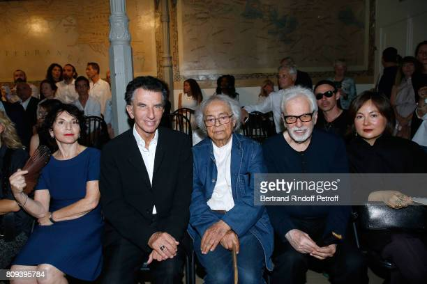 Monique Lang her husband Jack lang Adonis Alejandro Jodorowsky and Pascale MontandonJodorowsky attend the Azzedine Alaia Fashion Show as part of...