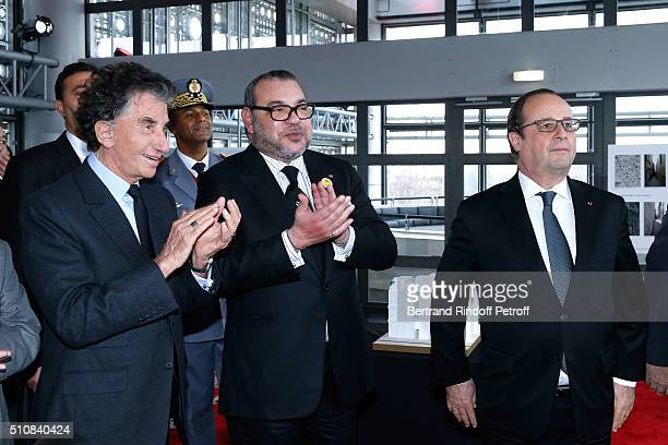 Monique Lang her husband President of the 'Institut du Monde Arabe' Jack Lang King Mohammed VI of Morocco and French President Francois Hollande...