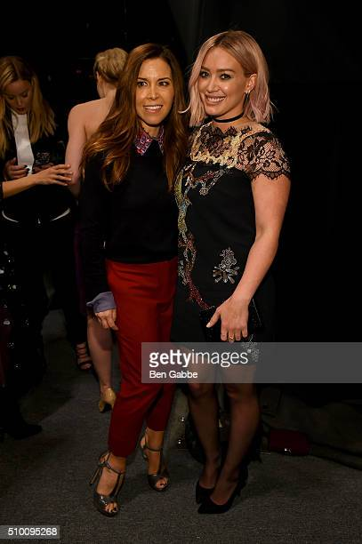 Monique Lhuillier and Hilary Duff pose backstage at the Monique Lhuillier Fall 2016 fashion show during New York Fashion Week The Shows at The Arc...