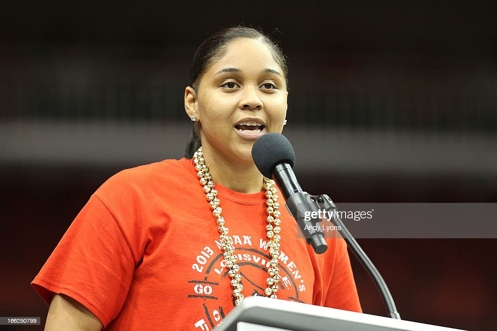 Monique Reid of the Louisville Cardinals womens team talks during the Louisville Cardinals NCAA Basketball Celebration to mark the NCAA championship by the Mens team and the runner-up finish by the womens team at KFC YUM! Center on April 10, 2013 in Louisville, Kentucky.
