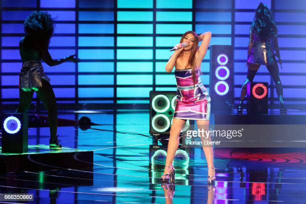 Monique Simon during the first event show of the tv competition 'Deutschland sucht den Superstar' at Coloneum on April 8 2017 in Cologne Germany 13...
