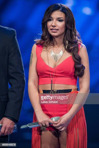 Monique Simon performs during the second event show of the tv competition 'Deutschland sucht den Superstar' at Coloneum on April 15 2017 in Cologne...