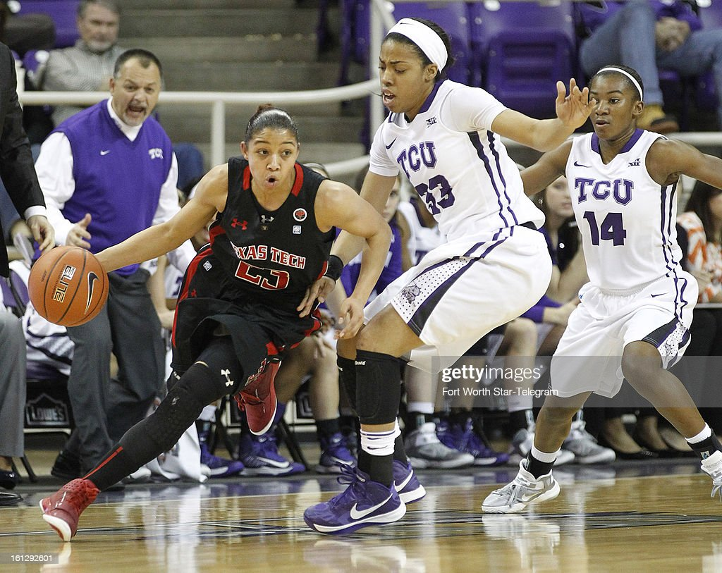 Monique Smalls of Texas Tech, left, takes the ball around Donielle Breaux and Zahna Medley of Texas Christian at Daniel-Meyer Coliseum in Fort Worth, Texas on Saturday, February 9, 2013. Tech defeated TCU, 64-46.
