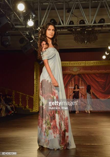 Monisha Jaising exhibits her 'Opera' collection during FDCI's India Couture Week 2017 at the Taj Palace hotel on July 28 2017 in New Delhi India