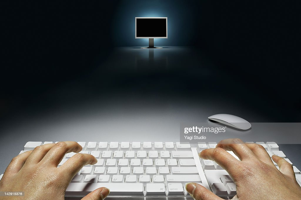 LCD monitor and keyboard : Stock Photo
