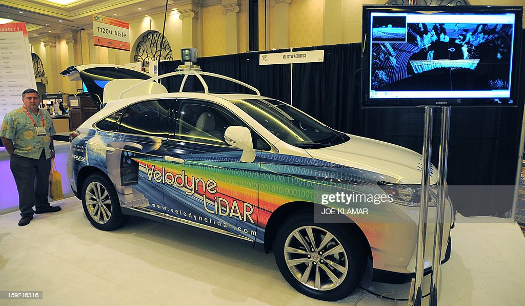 A monitor by Velodyne LiDar shows the image made by a 360 degree laser scanning device that creates a 3-dimensional image around the vehicle is displayed at the Las Vegas Convention Center on January 9, 2013 in Las Vegas, Nevada. CES, the world's largest annual consumer technology trade show, runs from January 8-11 and is expected to feature 3,100 exhibitors showing off their latest products and services to about 150,000 attendees.
