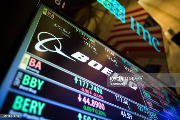 A monitor displays Boeing Co signage on the floor of the New York Stock Exchange in New York US on Monday March 13 2017 US stocks held steady as they...