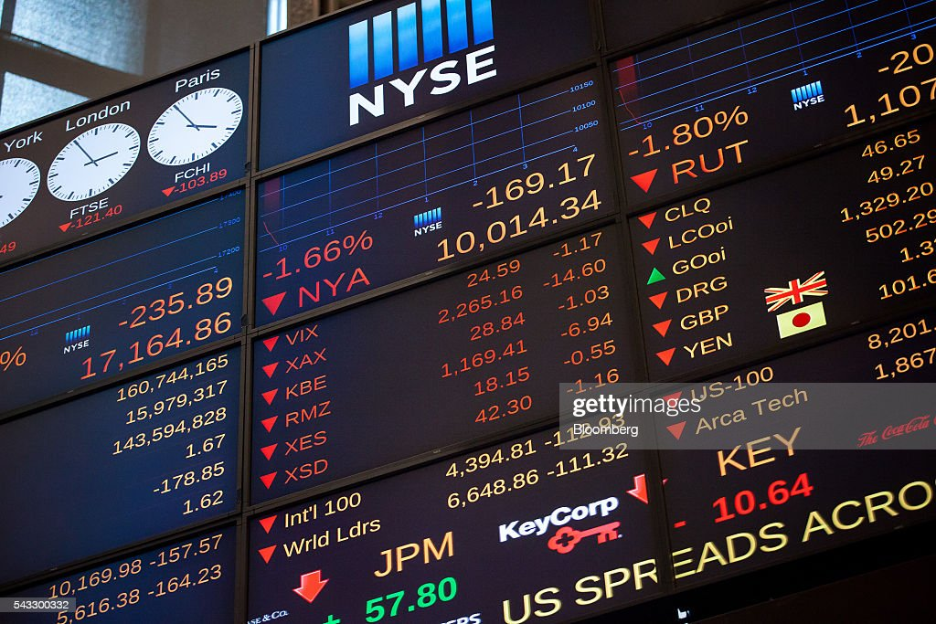 A monitor displays exchange info on the floor of the New York Stock Exchange (NYSE) in New York, U.S., on Monday, June 27, 2016. U.S. stocks resumed a selloff sparked by Britain's shock vote to leave the European Union, with the Dow Jones Industrial Average falling more than 300 points after equities on Friday tumbled the most in 10 months. Photographer: Michael Nagle/Bloomberg via Getty Images