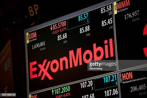 A monitor displays Exxon Mobil Corp signage on the floor of the New York Stock Exchange in New York US on Monday Jan 23 2017 US stocks fell as losses...