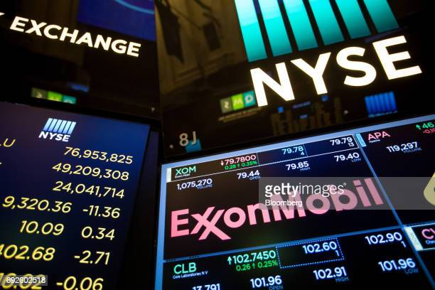 A monitor displays Exxon Mobil Corp signage on the floor of the New York Stock Exchange in New York US on Monday June 5 2017 US stocks fluctuated...
