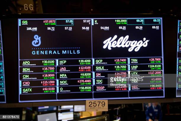 A monitor displays General Mills Inc and Kellogg Co signage on the floor of the New York Stock Exchange in New York US on Monday Aug 14 2017 US...
