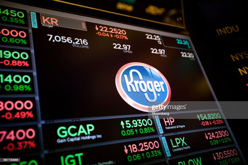 A monitor displays Kroger Co. signage on the floor of the New York Stock Exchange (NYSE) in New York, U.S., on Monday, June 19, 2016. U.S. stocks rose, following a lull in markets after equities hit another fresh record last week. Photographer: Michael Nagle/Bloomberg via Getty Images
