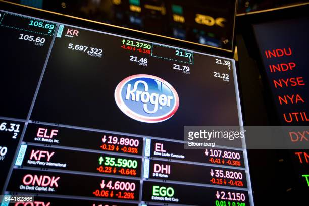 A monitor displays Kroger Co signage on the floor of the New York Stock Exchange in New York US on Friday Sept 8 2017 The dollar fell to the weakest...