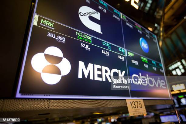 A monitor displays Merck Co Inc signage on the floor of the New York Stock Exchange in New York US on Monday Aug 14 2017 US stockindex futures...