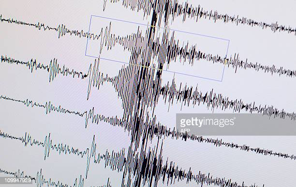 A monitor displays the seismological chart of the earthquake which hit Japan on March 11 2011 at the Geozentrum geological science center in Hanover...