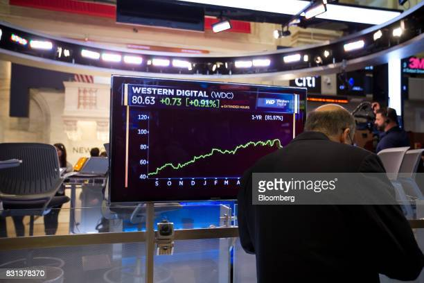 A monitor displays Western Digital Corp stock data on the floor of the New York Stock Exchange in New York US on Monday Aug 14 2017 US stockindex...