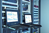 monitor show graph information of network traffic and wireless status of device in server room data center
