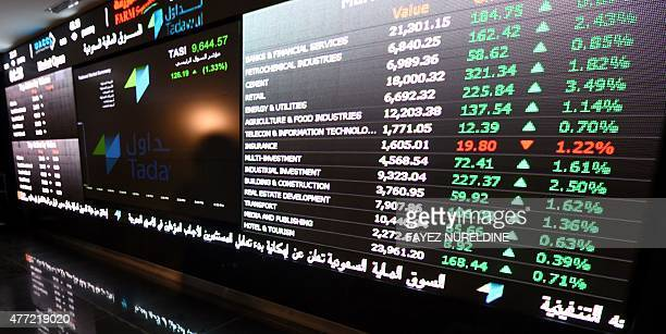 A monitor shows the stock exchange at the Saudi Stock Exchange or Tadawul on June 15 2015 in the capital Riyadh Saudi Arabia's stock exchange allowed...