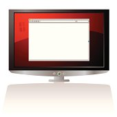 LCD Monitor with red background and web browser