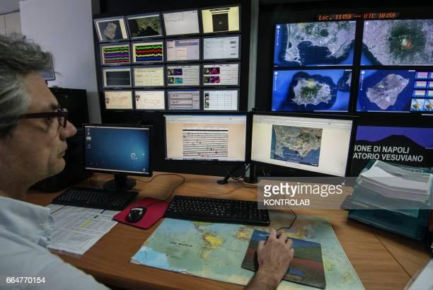 Monitoring room of observatory Vesuvius in Naples Monitors vulcanic activity of mount Vesuvius Campi Flegrei Stromboli and Eolie Islands in Sicily