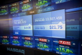 Monitors display JDcom's stock pricing at the Nasdaq MarketSite in New York US on Thursday May 22 2014 JDcom Inc the Chinese online retailer whose...