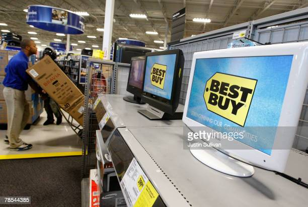 LCD monitors display the Best Buy logo at a Best Buy store December 18 2007 in San Francisco California Consumer electronics retail giant Best Buy Co...