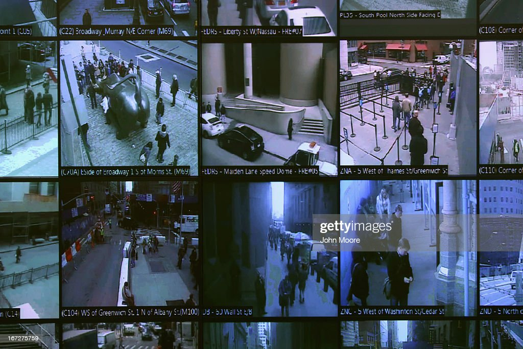 Monitors show imagery from security cameras seen at the Lower Manhattan Security Initiative on April 23 2013 in New York City At the counterterrorism...